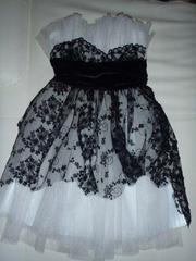 Вечернее платье чёрно-белое