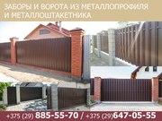 Заборы и ворота из металлопрофиля и металлоштакетника.