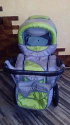 коляска зелёно-серая